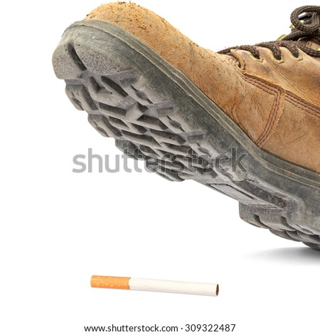 Boot steps on a cigarette isolated on the white background - stock photo