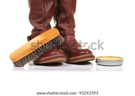 boot waxing isolated on white background - stock photo