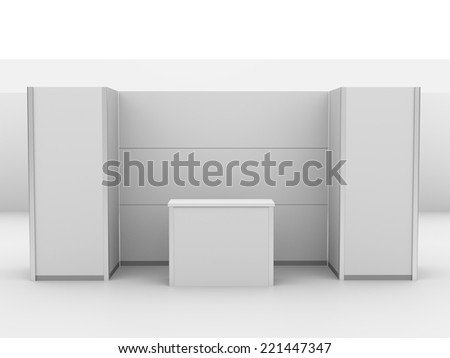 booth or kiosk isolated on white. 3d render - stock photo