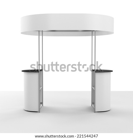 booth or kiosk with banner isolated on white. 3d render - stock photo