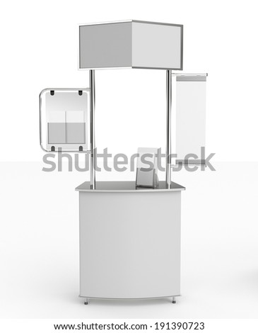 booth or kiosk with display isolated on white. 3d render - stock photo