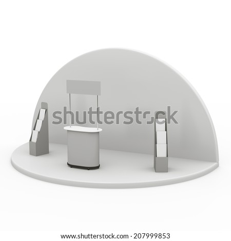booth or kiosk with displays and round wall. - stock photo