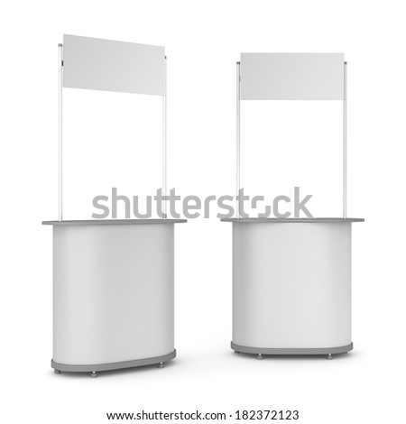booth or kiosk with rollup isolated on white. 3d render - stock photo