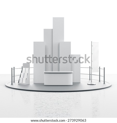 booth with flag. 3D rendering - stock photo
