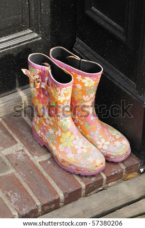 Boots on a doorstep in Georgetown, Washington D.C. - stock photo