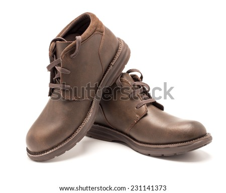 Boots on a white background closeup isolate - stock photo