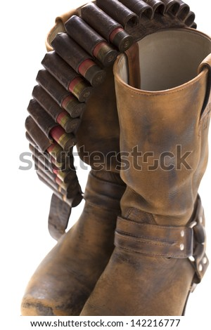 boots with ammo belt - stock photo