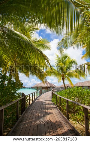Bora Bora, Walkway to sea and bungalows / villas.  Palm trees framing the picture to luxury thatched rooms - stock photo