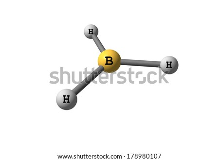 Borane (trihydridoboron) is an inorganic compound with the chemical formula BH3. It is a colourless gas that only persists at elevated temperatures or in dilution. - stock photo