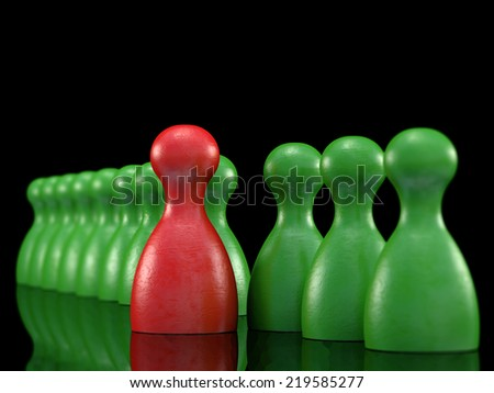bord game pieces symbol for leadership - stock photo