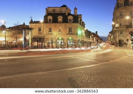 Bordeaux, France - January 16 2016 : High speed traffic and blurred light trails at la Victore, Bordeaux, France  - stock photo