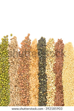 Border Collection of Cereal Grains and Seeds - stock photo