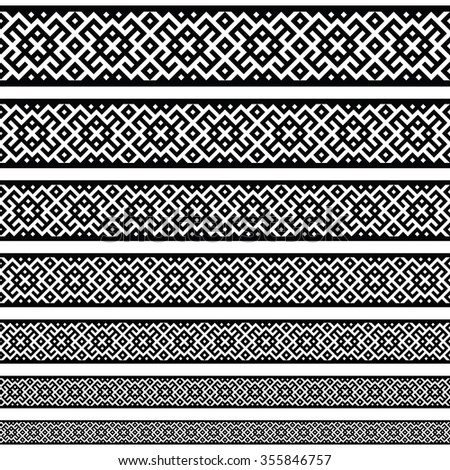 Border decoration elements patterns in black and white colors. Geometrical ethnic border in different sizes set collections. Raster version. Can use as tattoos, frames, patterns, dividers - stock photo