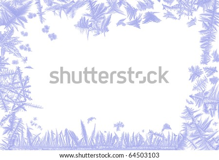 Border frame made of real ice flowers of several frosted windows - stock photo