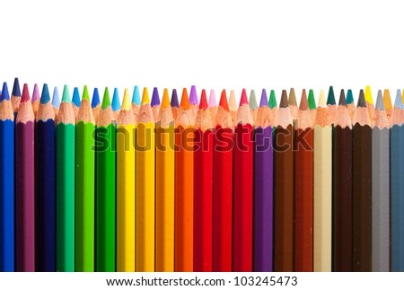 Border from multicolored pencils with copyspase - stock photo