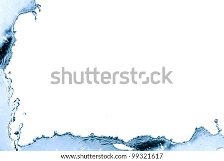 Border made from blue splashing water. Nice background - stock photo