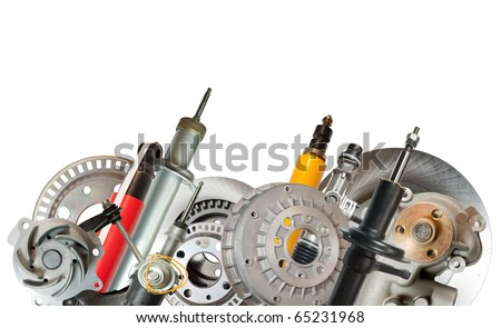 Border of car parts. Isolated on white - stock photo