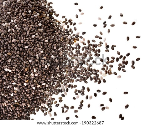 border of chia seeds close up isolated on white - stock photo