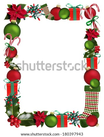 Border of Christmas and Holiday objects - stock photo