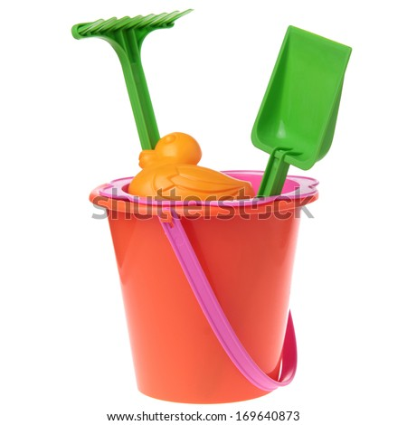 Border of colorful gardening tools : bucket, spade over white background - stock photo