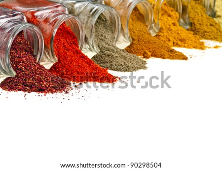 border of  colorful powder spices in glass bottle with copy space , isolated on white background - stock photo