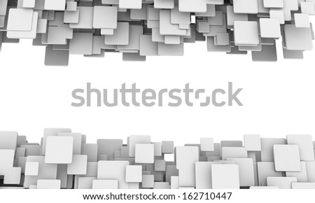 Border of 3d white cubes in different sizes in a scattered layers and a random pattern with perspective and a blank white central copyspace. - stock photo