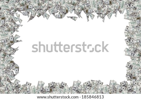 Border of one hundred dollar banknotes with copy space, isolated on white background. - stock photo