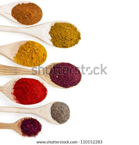 border of powder spices on spoons isolated on a white background - stock photo