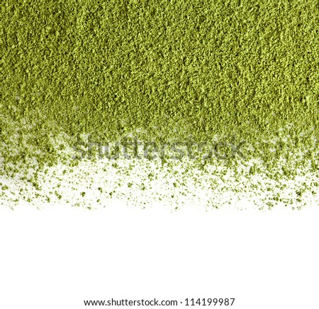 border of powdered green tea top view close up  isolated on white background - stock photo