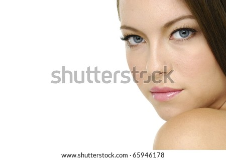 Border of young smiling woman with healthy skin - stock photo
