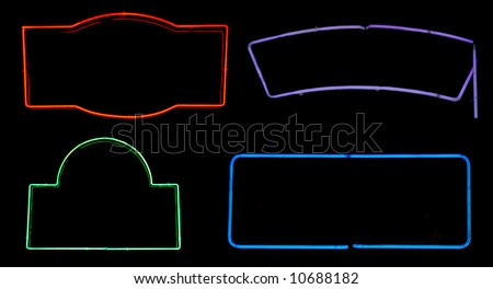 Borders and boxes from neon signs for design elements - stock photo