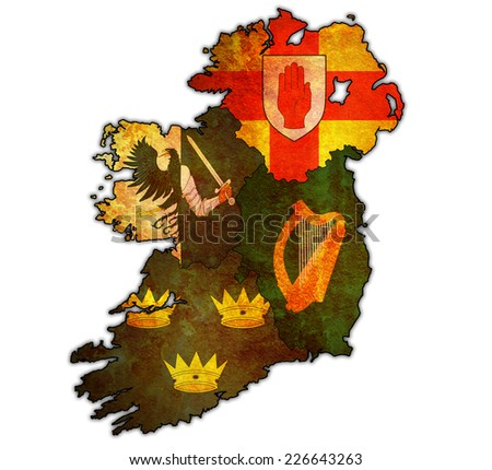 borders and flags of provinces on map of ireland - stock photo