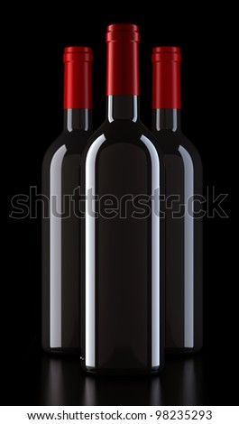bordo shape red  wine bottles without labels + cliping path, render - stock photo