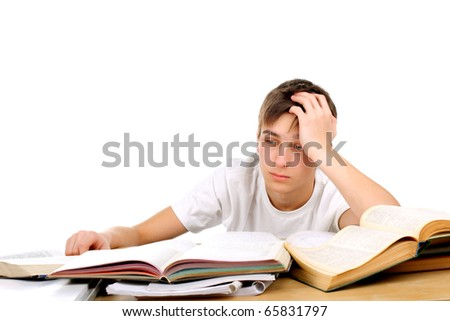 bored and tired student after hard work - stock photo