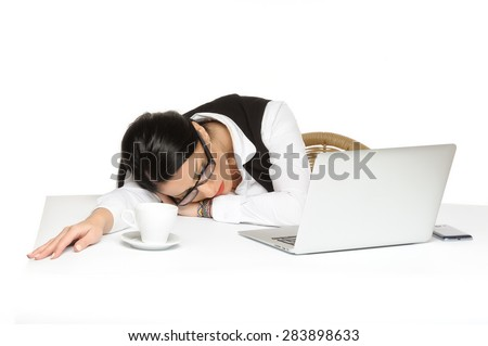 bored young businesswoman has problems while using laptop.isolated on white - stock photo
