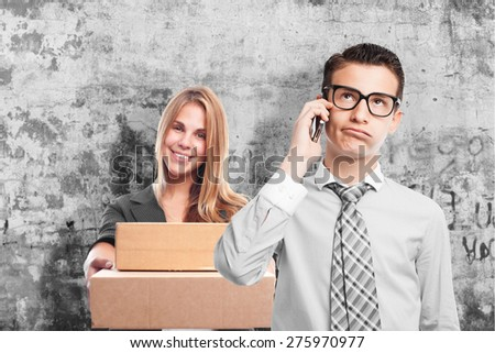 boring businessman on phone - stock photo