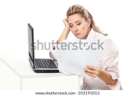 Boring / Businesswoman and paperwork - stock photo
