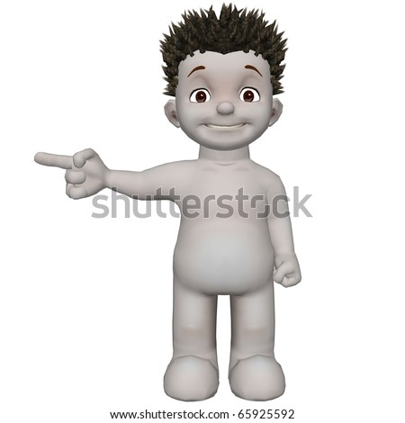 boris 3d character points to left with smile - stock photo