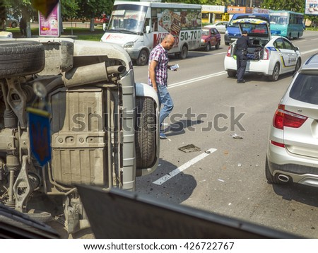 BORISPYL, UKRAINE - May 26, 2016: Serious car accident  - stock photo
