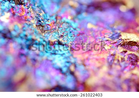 Bornite, also known as peacock ore, is a sulfide mineral with chemical composition Cu5FeS4 that crystallizes in the orthorhombic system (pseudo-cubic). Macro. Background for successful Your projects - stock photo