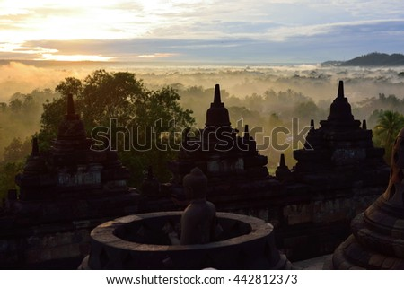 Borobudur, a 9th century Buddhist Temple in Magelang, Central Java, Indonesia, that is listed as a UNESCO World Heritage Site - stock photo