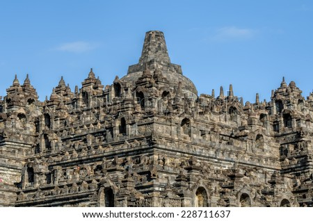 Borobudur in Java in Indonesia - stock photo