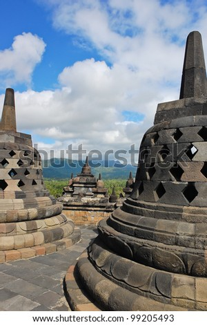 Borobudur in Magelang, Central Java, Indonesia - stock photo