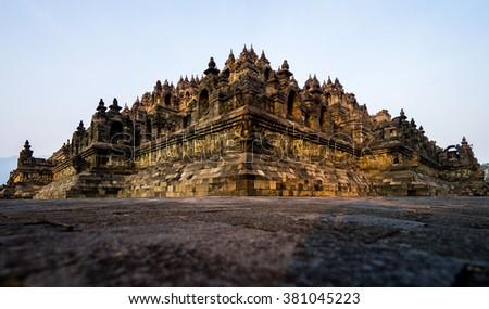 Borobudur is a 9th century Mahayana Buddhist Temple, Central Java, Indonesia - stock photo