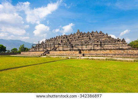 Borobudur is a 9th-century Mahayana Buddhist Temple in Magelang, Central Java, Indonesia. - stock photo