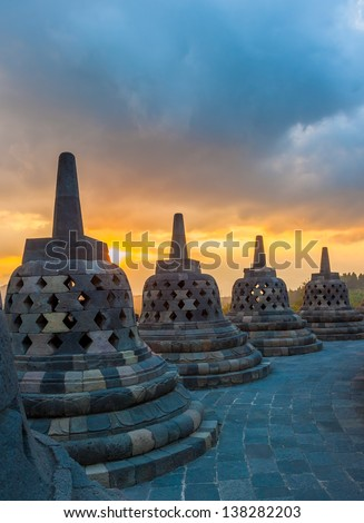 Borobudur temple at sunrise, Java, Indonesia - stock photo