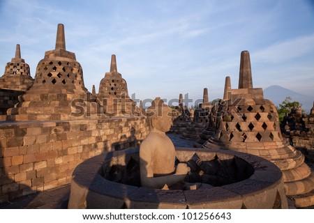 Borobudur Temple at sunrise. Yogyakarta, Indonesia. - stock photo
