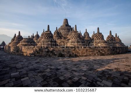 Borobudur Temple at sunrise. Yogyakarta, Java, Indonesia. - stock photo