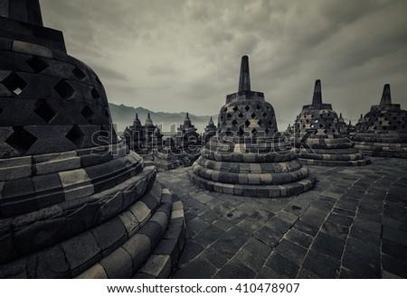 Borobudur temple in Java - stock photo