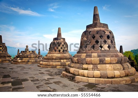 Borobudur temple in Jogjakarta, an ancient Buddhist temple discovered back in the early 1900 in Jogjakarta, Indonesia. - stock photo